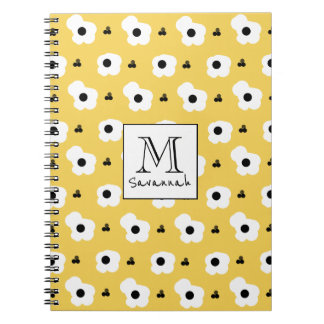 CHIC _MOD WHITE AND BLACK FLORAL ON YELLOW NOTEBOOK
