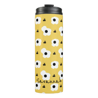 CHIC MOD WHITE AND BLACK FLORAL ON YELLOW THERMAL TUMBLER