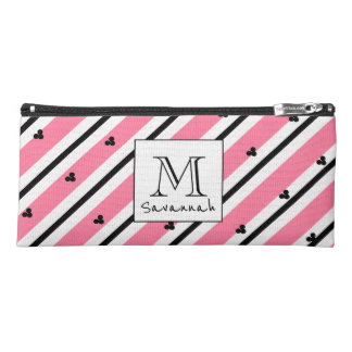 CHIC MOD WHITE AND BLACK STRIPES ON 241 PINK PENCIL CASE
