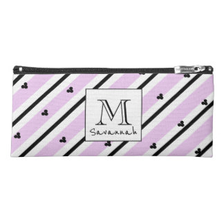CHIC MOD WHITE AND BLACK STRIPES ON LILAC PENCIL CASE