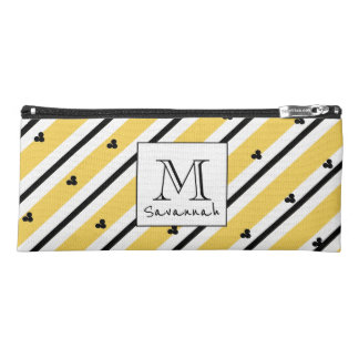 CHIC MOD WHITE AND BLACK STRIPES ON YELLOW PENCIL CASE