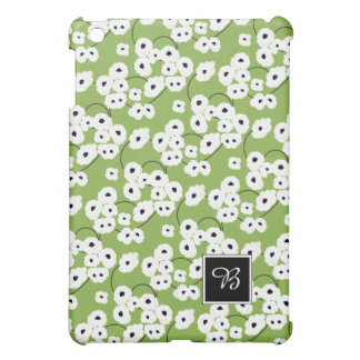 CHIC MOD WHITE & BLACK POPPIES ON GREEERY iPad MINI COVERS
