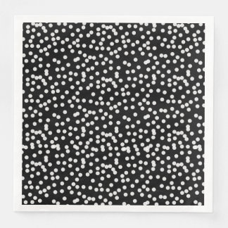 CHIC MOD WHITE DOTS ON BLACK_OR DIY DISPOSABLE NAPKINS