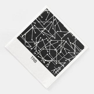 CHIC MOD WHITE GEOMETRIC WITH MONOGRAM_DIY DISPOSABLE NAPKIN