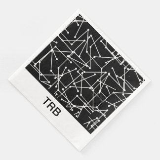 CHIC MOD WHITE GEOMETRIC WITH MONOGRAM_DIY PAPER DINNER NAPKIN