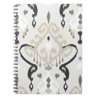 Chic modern beige black white ikat tribal pattern spiral notebook