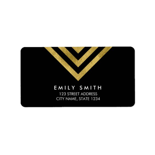 Chic Modern Black and Faux Gold Geometric Address Label