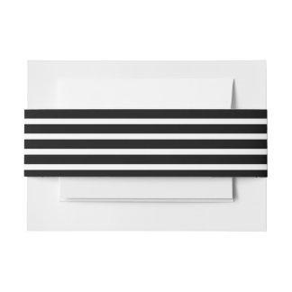 Chic Modern Black Stripes Pattern Invitation Belly Band