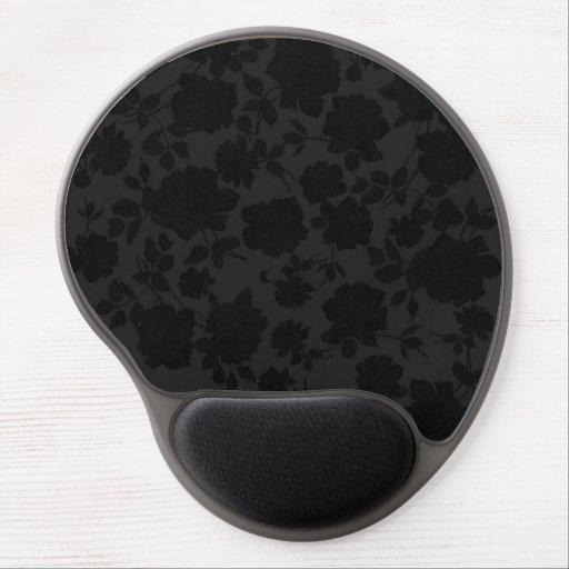 Chic Modern Black Trendy Vintage Floral Pattern Gel Mouse Mats