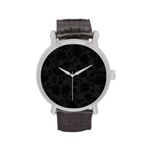 Chic Modern Black Trendy Vintage Floral Pattern Wristwatch