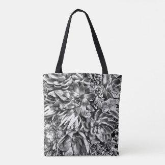 Chic Modern Black & White Succulent photo pattern Tote Bag
