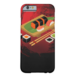 Chic Modern Elegant Black & Red Sushi Barely There iPhone 6 Case