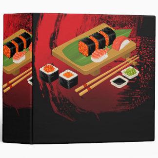 Chic Modern Elegant Black & Red Sushi Binders