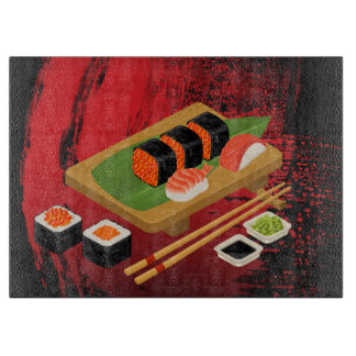 Chic Modern Elegant Black & Red Sushi Boards