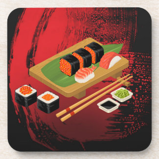 Chic Modern Elegant Black & Red Sushi Cook Coaster
