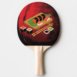 Chic Modern Elegant Black & Red Sushi Cook Ping Pong Paddle