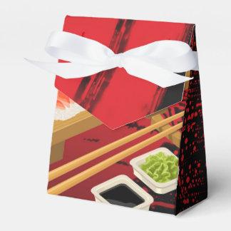 Chic Modern Elegant Black & Red Sushi Favor Box