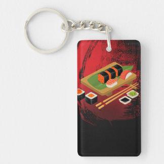 Chic Modern Elegant Black & Red Sushi Keychain