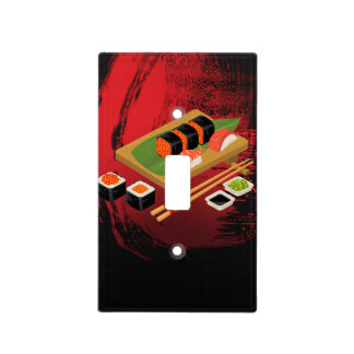 Chic Modern Elegant Black & Red Sushi Light Switch Cover