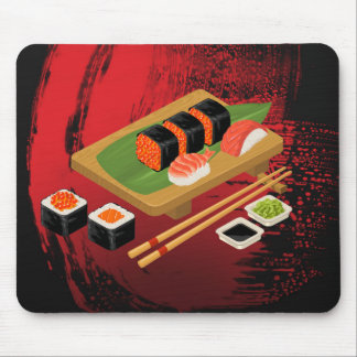 Chic Modern Elegant Black & Red Sushi Mouse Pad