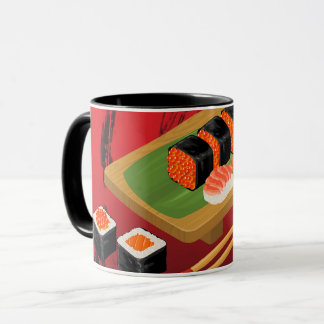 Chic Modern Elegant Black & Red Sushi Mug