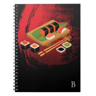 Chic Modern Elegant Black & Red Sushi Notebooks