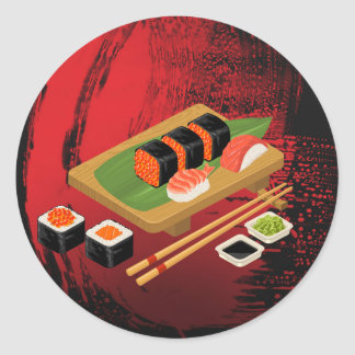 Chic Modern Elegant Black & Red Sushi Party Event Classic Round Sticker
