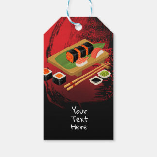 Chic Modern Elegant Black & Red Sushi Party Event Gift Tags