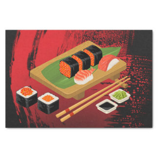 Chic Modern Elegant Black & Red Sushi Party Tissue Paper