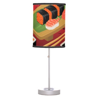 Chic Modern Elegant Black & Red Sushi Rolls Table Lamp