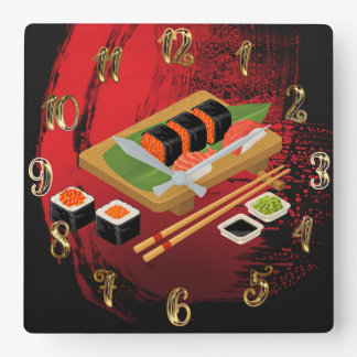 Chic Modern Elegant Black & Red Sushi Square Wall Clock