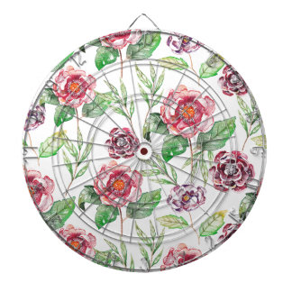 Chic Modern Elegant Floral Watercolor Pattern Dart Board