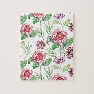 Chic Modern Elegant Floral Watercolor Pattern Jigsaw Puzzle