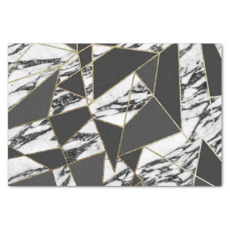 Chic Modern Gold Marble and Black Geometric Tissue Paper