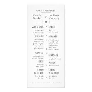 Chic Modern Gray | White Wedding Program Rack Card