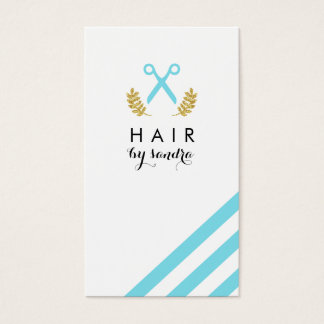 chic modern hair stylist hairstylist stripes blue business card