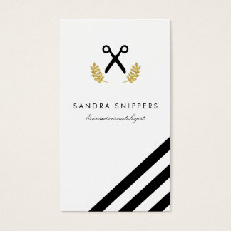 chic modern hair stylist hairstylist stripes business card