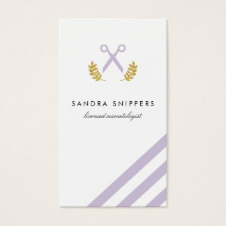 chic modern hair stylist hairstylist stripes gold business card