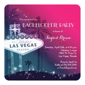 "Chic, Modern Las Vegas Bachelorette Party 5.25"" Square Invitation Card"