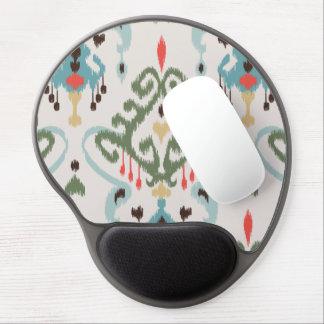 Chic modern light green blue ikat tribal pattern gel mouse pad