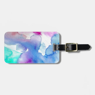Chic Modern Magenta Blue Teal Abstract Watercolor Bag Tag