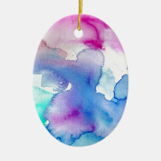 Chic Modern Magenta Blue Teal Abstract Watercolor Ceramic Oval Ornament