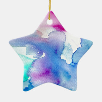 Chic Modern Magenta Blue Teal Abstract Watercolor Ceramic Star Ornament