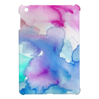 Chic Modern Magenta Blue Teal Abstract Watercolor iPad Mini Case