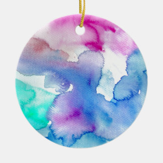 Chic Modern Magenta Blue Teal Abstract Watercolor Round Ceramic Ornament