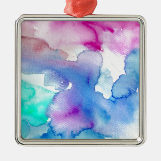 Chic Modern Magenta Blue Teal Abstract Watercolor Silver-Colored Square Ornament