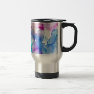 Chic Modern Magenta Blue Teal Abstract Watercolor Travel Mug