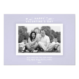 Chic Modern Minimal Lilac Valentine's Day Photo Card