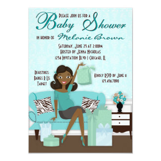 Chic Modern Mom with Gifts Baby Shower Invite