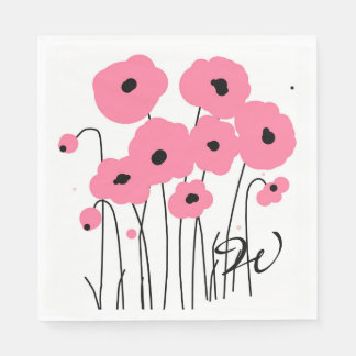 CHIC MODERN PINK  & BLACK POPPIES PAPER NAPKINS